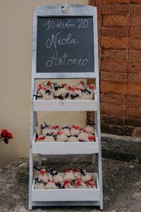 Sacchettini riso con con fiocco rosso e blu | organizzatrice eventi Siena Toscana